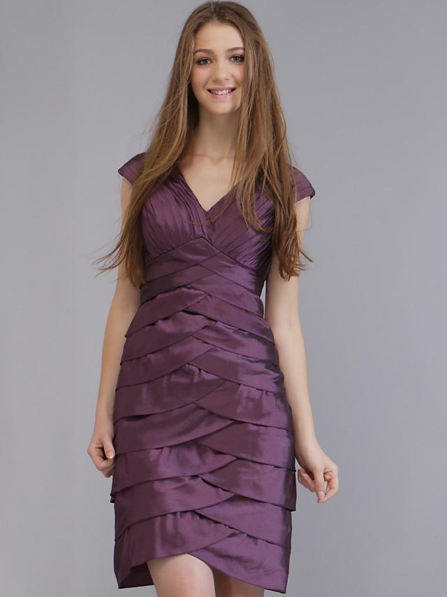 Sheath / Column Wedding Party Dress V Neck Sleeveless Short / Mini Taffeta with 2020
