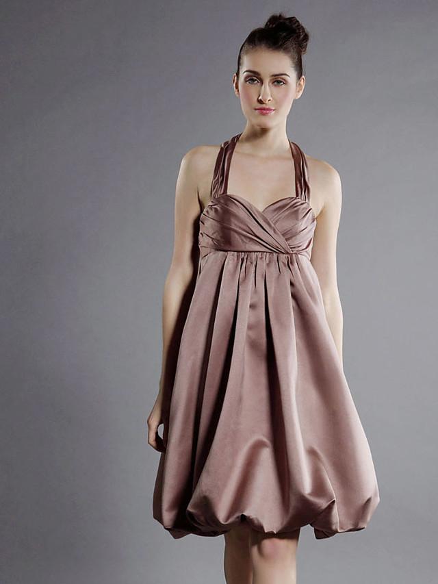 Princess / A-Line Halter Neck / Sweetheart Neckline Knee Length Satin Bridesmaid Dress with Criss Cross / Draping
