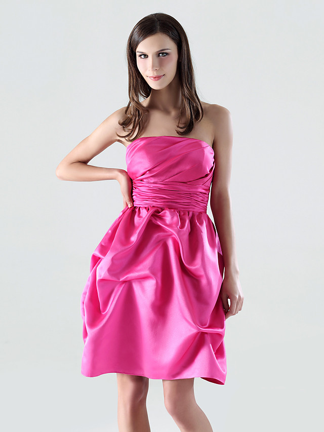 A-Line Strapless Short / Mini Satin Bridesmaid Dress with Pick Up Skirt / Ruched