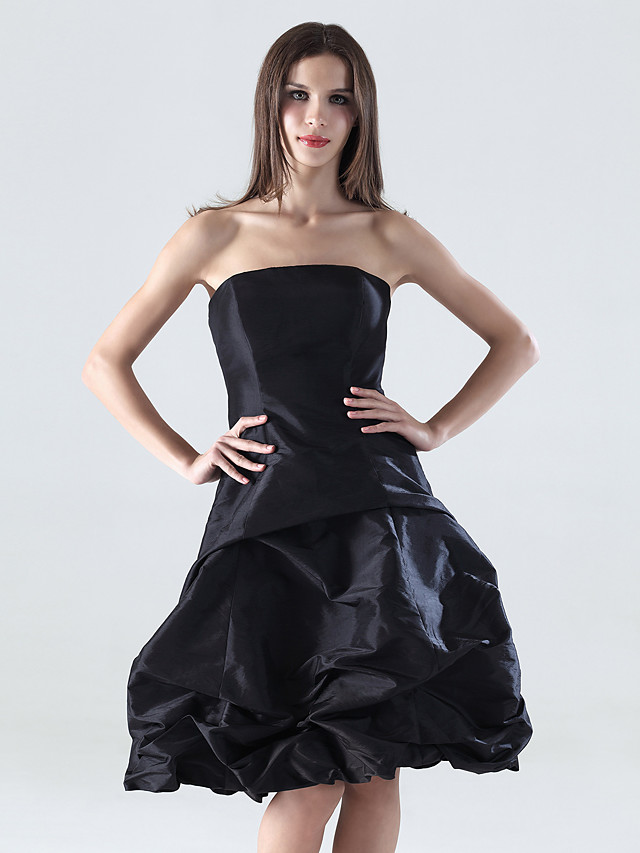 A-Line Little Black Dress Wedding Party Dress Strapless Sleeveless Knee Length Taffeta with Pick Up Skirt 2020
