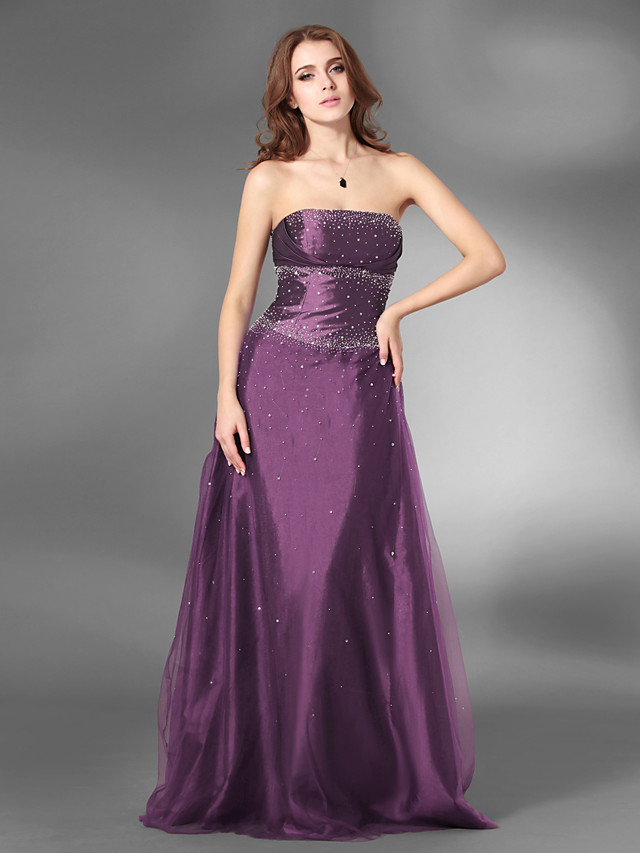 Ball Gown Open Back Prom Formal Evening Military Ball Dress Strapless Sleeveless Floor Length Satin Tulle with Beading 2020