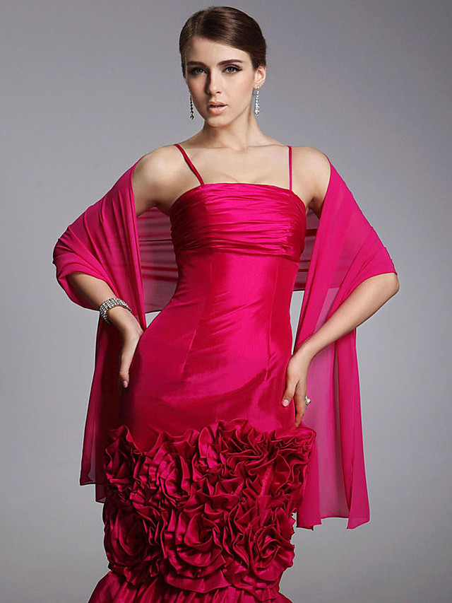 Shawls Chiffon Wedding / Party Evening / Casual Wedding  Wraps / Shawls With Draping / Solid