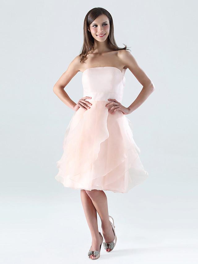 A-Line Strapless Knee Length Organza / Satin Bridesmaid Dress with Ruffles / Cascading Ruffles / Open Back