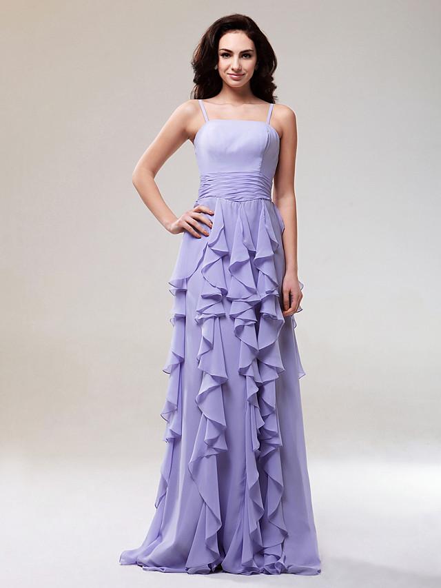 Sheath / Column Prom Formal Evening Military Ball Dress Spaghetti Strap Sleeveless Floor Length Chiffon with Ruched Cascading Ruffles 2020