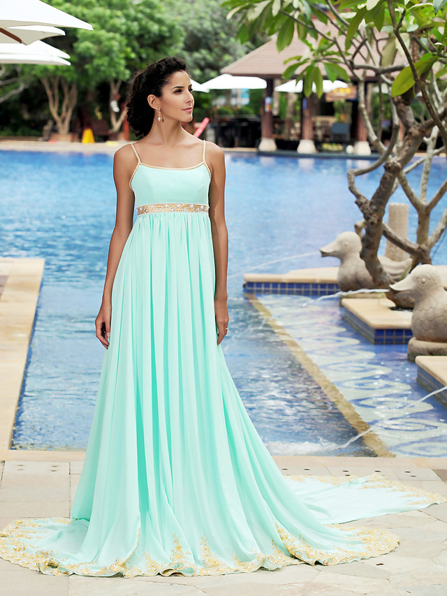 Ball Gown Celebrity Style Inspired by TV Stars Formal Evening Dress Spaghetti Strap Sleeveless Court Train Chiffon with Pleats Beading Draping 2020