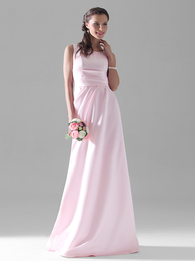 A-Line Scoop Neck Floor Length Satin Bridesmaid Dress with Side Draping