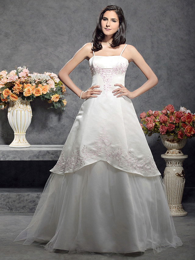 Princess A-Line Wedding Dresses Square Neck Floor Length Satin Tulle Spaghetti Strap Wedding Dress in Color with 2020
