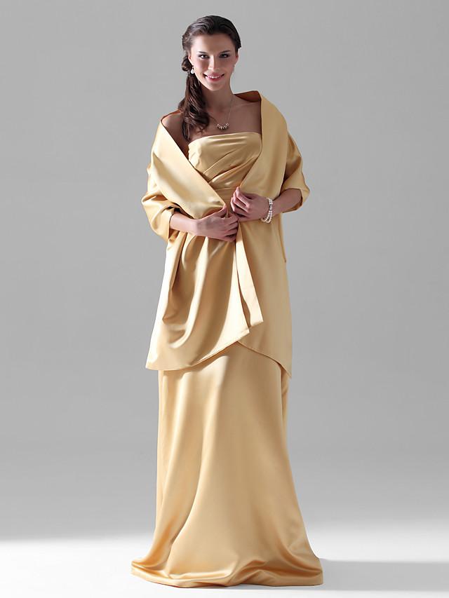 Sheath / Column Strapless Floor Length Satin Bridesmaid Dress with Side Draping
