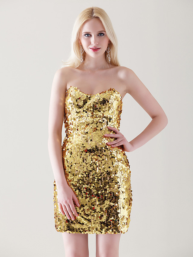 Sheath / Column All Celebrity Styles Sparkle & Shine Holiday Homecoming Cocktail Party Dress Strapless Sweetheart Neckline Sleeveless Short / Mini Sequined with 2020
