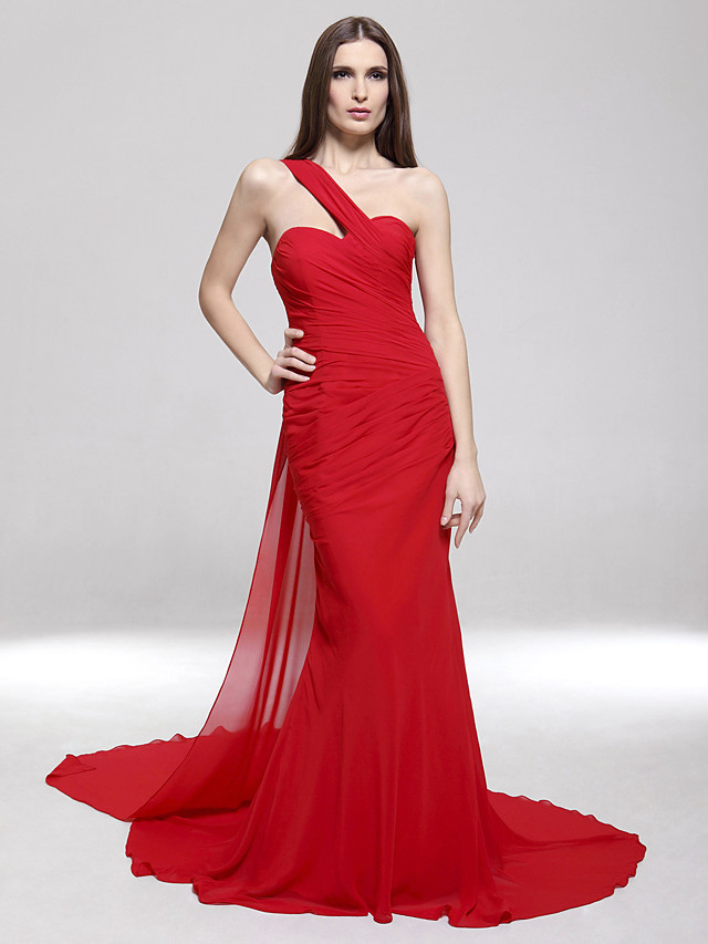 Mermaid / Trumpet One Shoulder Sweep / Brush Train Chiffon Celebrity Style / Open Back Formal Evening / Military Ball Dress with Side Draping 2020