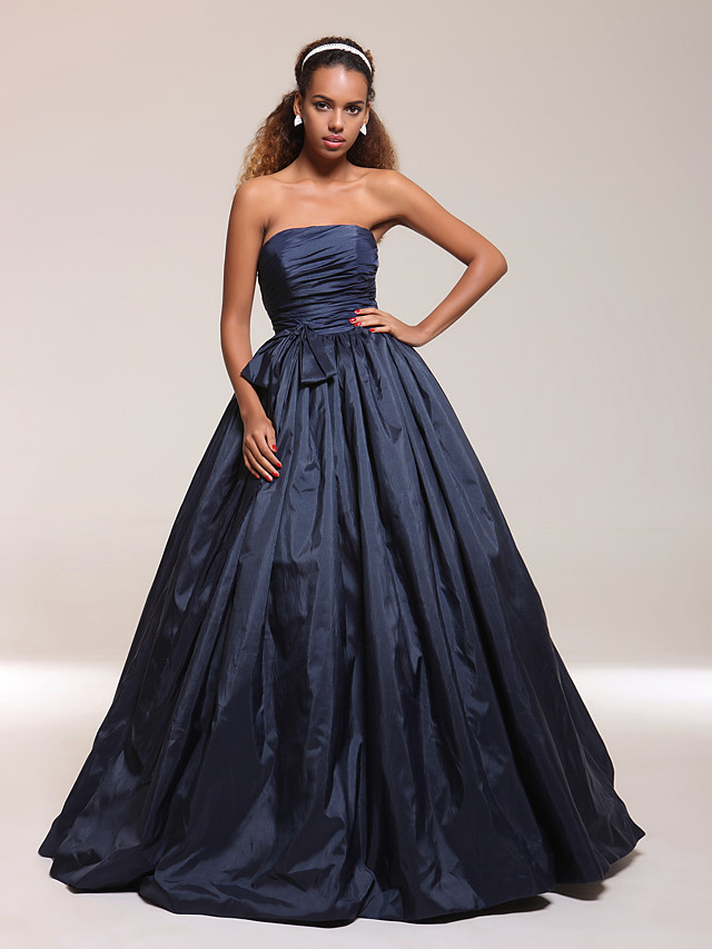 Ball Gown Quinceanera Prom Formal Evening Dress Strapless Sleeveless Floor Length Taffeta with Bow(s) Pleats Ruched 2020