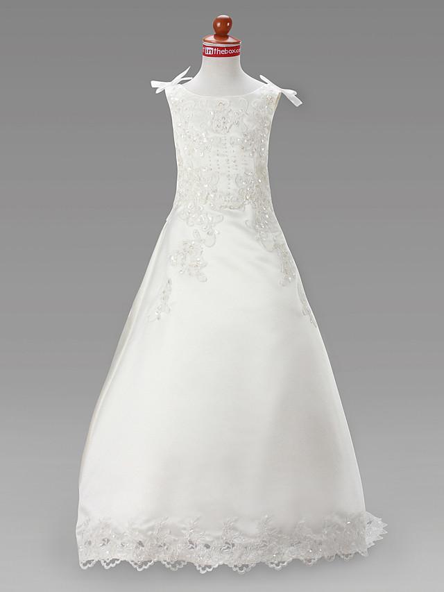 A-Line Court Train / Sweep / Brush Train Wedding / First Communion Flower Girl Dresses - Satin Sleeveless Jewel Neck with Beading / Spring / Summer / Fall / Winter