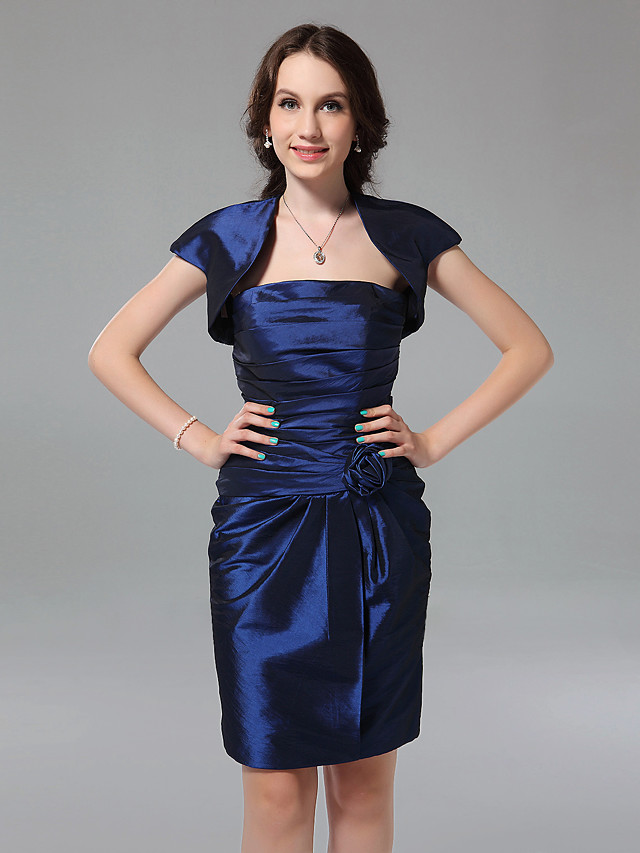 Sheath / Column Strapless Knee Length Taffeta Bridesmaid Dress with Ruched / Flower