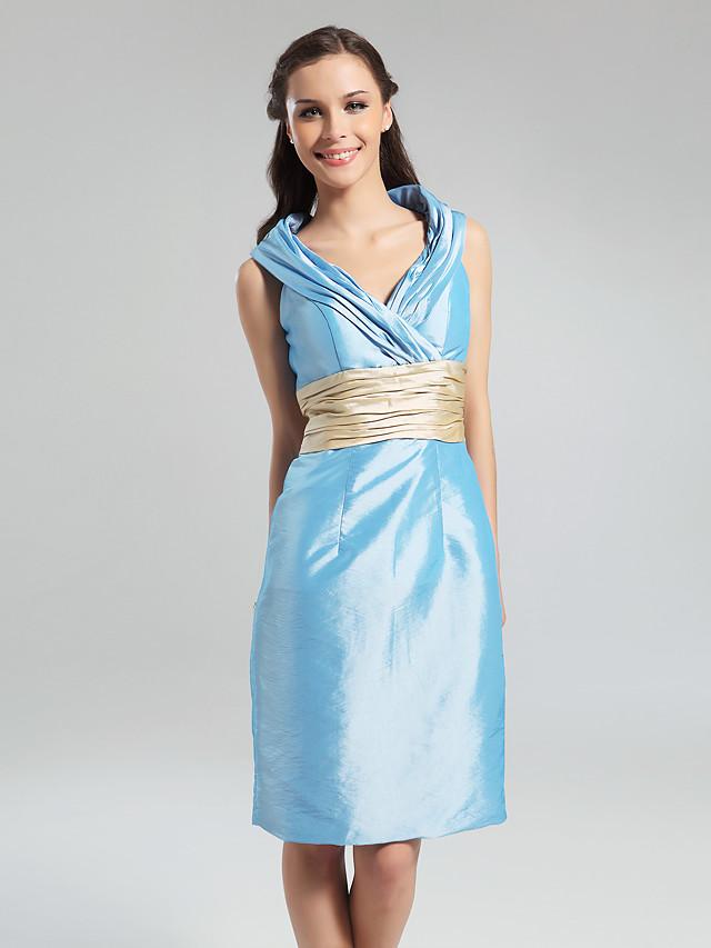 Sheath / Column V Neck Knee Length Taffeta Bridesmaid Dress with Sash / Ribbon / Ruched / Draping