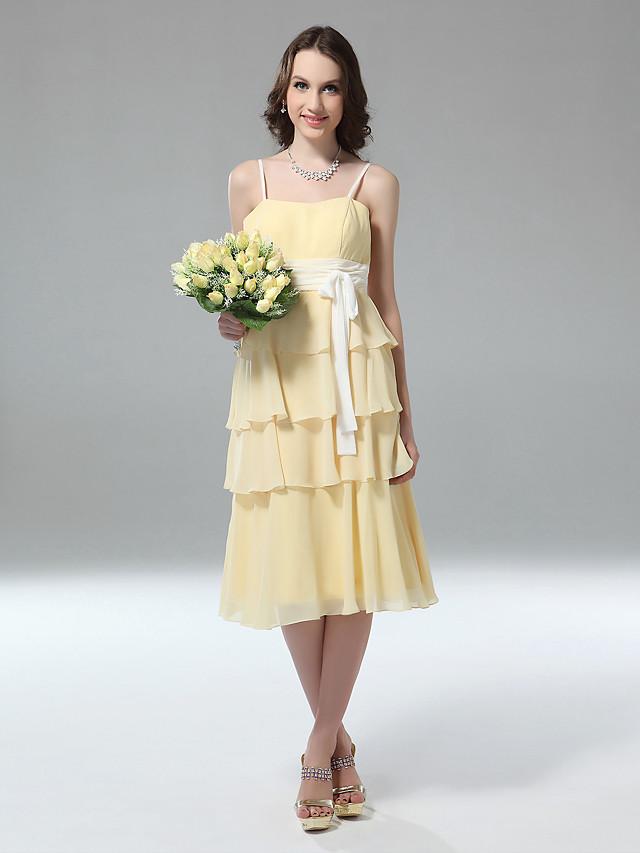 Sheath / Column Spaghetti Strap Tea Length Chiffon Bridesmaid Dress with Sash / Ribbon
