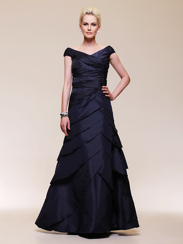 Ball Gown Elegant Formal Evening Wedding Party Military Ball Dress Off Shoulder Short Sleeve Floor Length Taffeta with Criss Cross Beading 2020