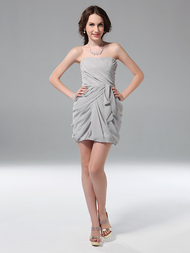 Sheath / Column Holiday Graduation Cocktail Party Dress Strapless Sleeveless Short / Mini Chiffon with Ruched Ruffles Side Draping 2020