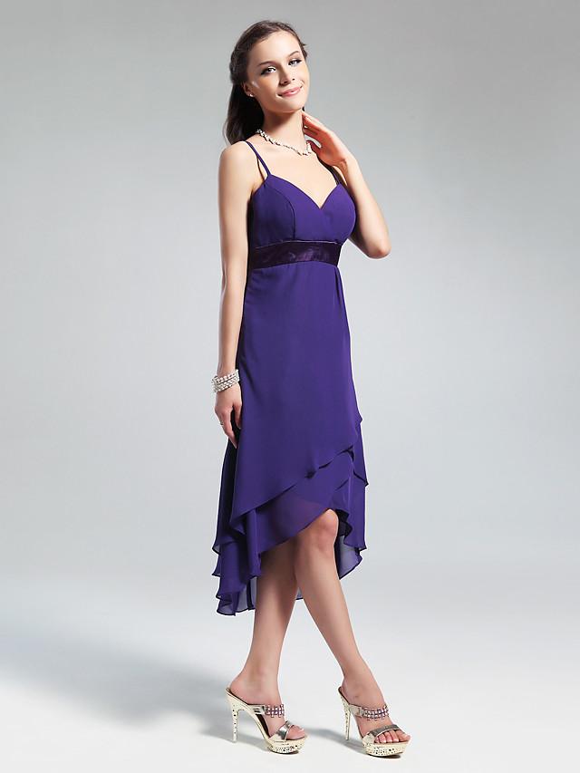 Princess / A-Line V Neck / Spaghetti Strap Asymmetrical / Knee Length Chiffon Bridesmaid Dress with Ruffles