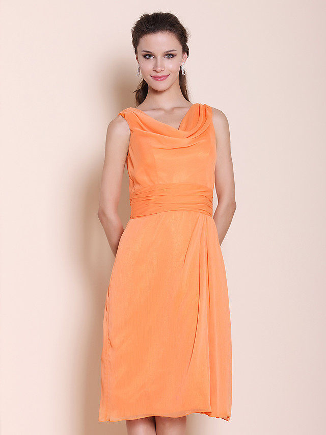 Princess / A-Line Cowl Neck Knee Length Chiffon Bridesmaid Dress with Ruched / Draping