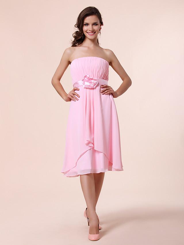 Princess / A-Line Strapless Knee Length Chiffon Bridesmaid Dress with Sash / Ribbon / Draping / Flower