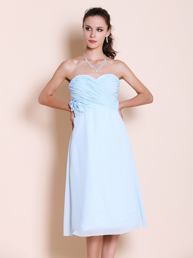 Princess / A-Line Strapless / Sweetheart Neckline Tea Length Chiffon Bridesmaid Dress with Criss Cross / Ruched / Flower