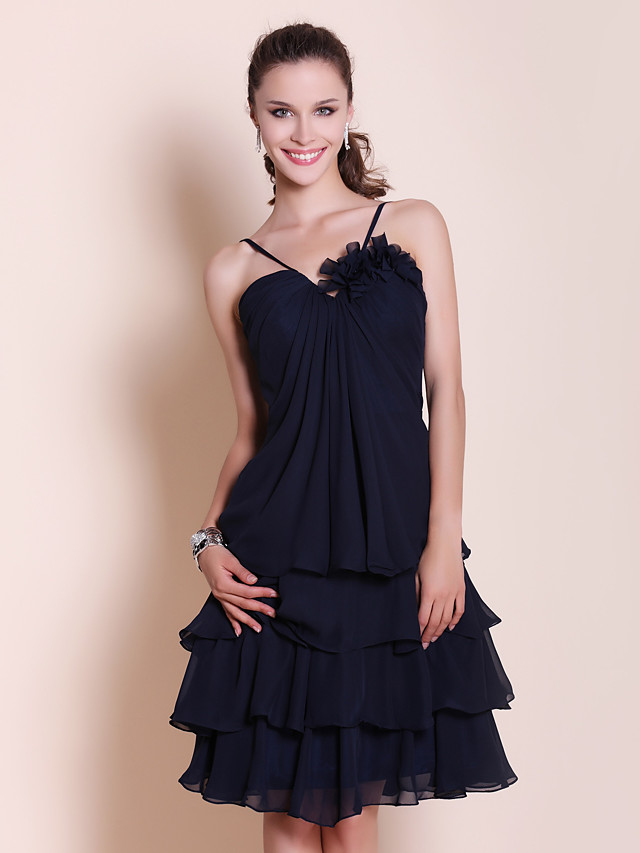 Ball Gown / A-Line Sweetheart Neckline / Spaghetti Strap Knee Length Chiffon Bridesmaid Dress with Draping / Flower