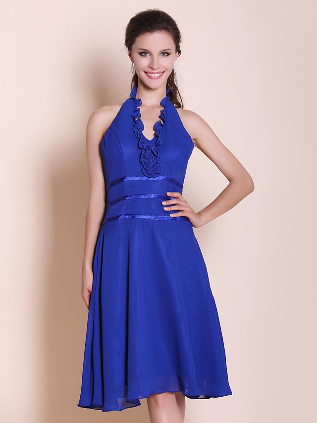 Princess / A-Line Halter Neck Knee Length Chiffon / Stretch Satin Bridesmaid Dress with Ruffles