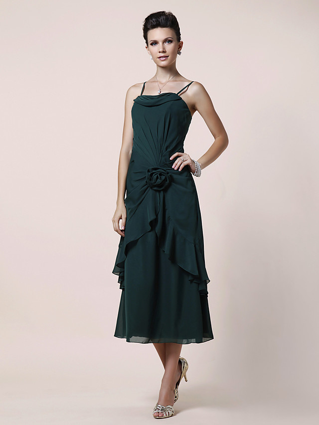 A-Line Mother of the Bride Dress Floral Spaghetti Strap Tea Length Chiffon Sleeveless with Side Draping Flower 2020