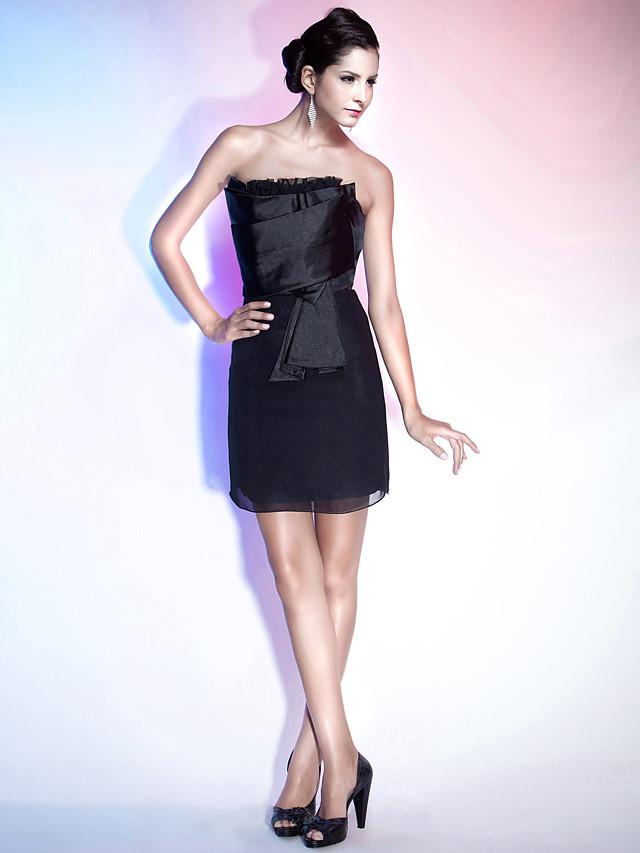 Eng Anliegend Tragerlos Kurz Mini Chiffon Satin Kleines Schwarzes Kleid Cocktailparty Kleid Mit Ruschen Durch Ts Couture 180132 2021 69 99