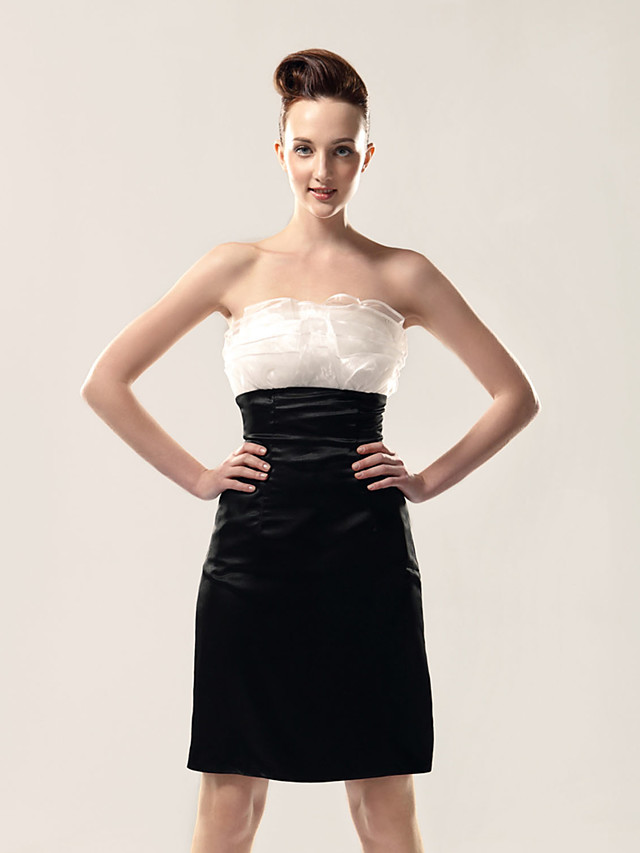 Sheath / Column All Celebrity Styles Inspired by TV Stars Holiday Homecoming Cocktail Party Dress Strapless Sleeveless Knee Length Organza Stretch Satin with Ruffles 2020