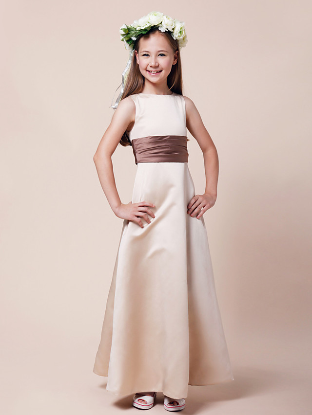 A-Line / Princess Bateau Neck Floor Length Satin Junior Bridesmaid Dress with Sash / Ribbon / Ruched / Spring / Summer / Fall / Winter / Apple