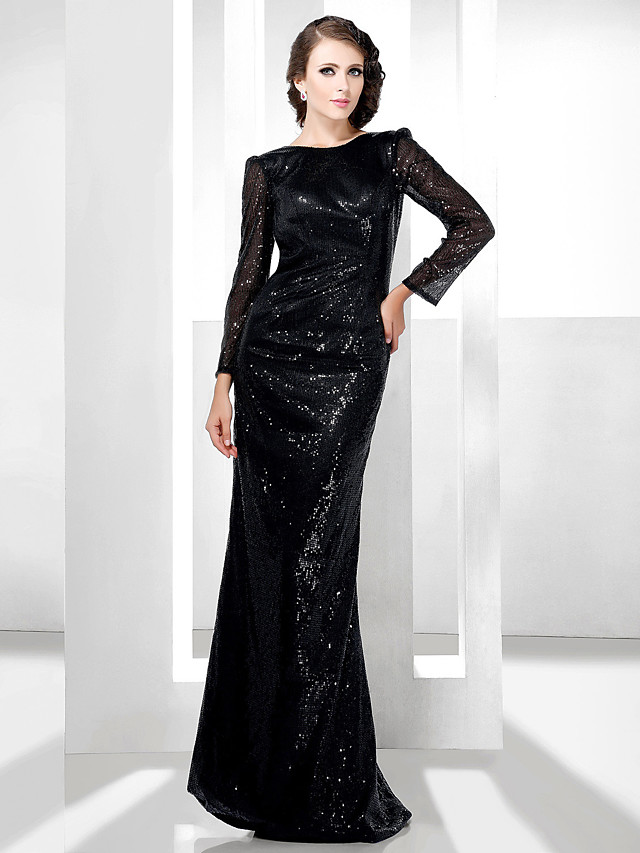 Sheath / Column All Celebrity Styles Open Back Formal Evening Military Ball Dress Bateau Neck Long Sleeve Floor Length Sequined with 2020