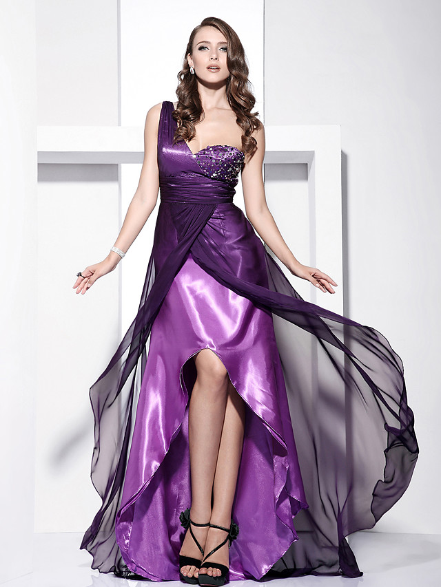 Ball Gown Elegant Prom Formal Evening Dress One Shoulder Sleeveless Asymmetrical Floor Length Chiffon Charmeuse with Ruched Beading Split Front 2021