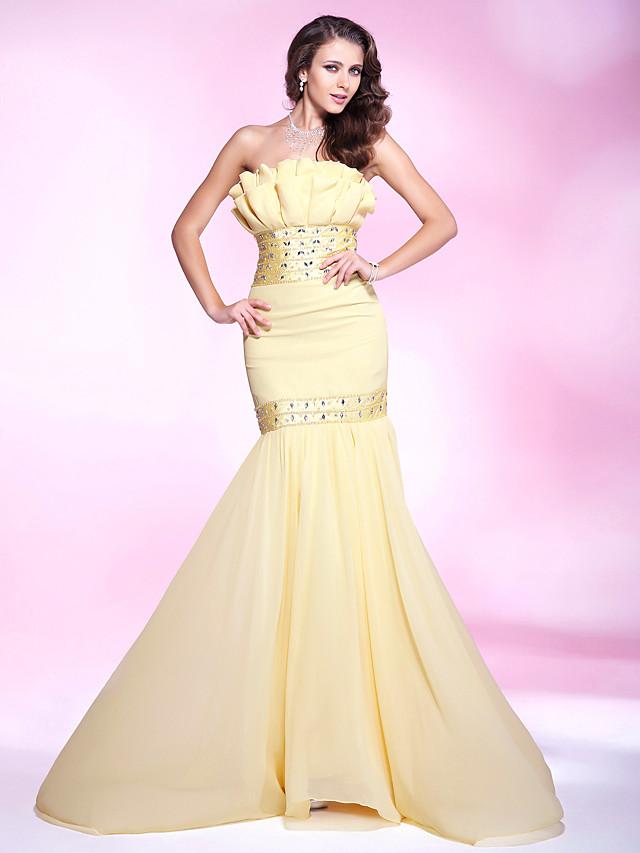 Mermaid / Trumpet Elegant Yellow Engagement Formal Evening Dress Strapless Sleeveless Sweep / Brush Train Chiffon Stretch Satin with Beading Ruffles 2020