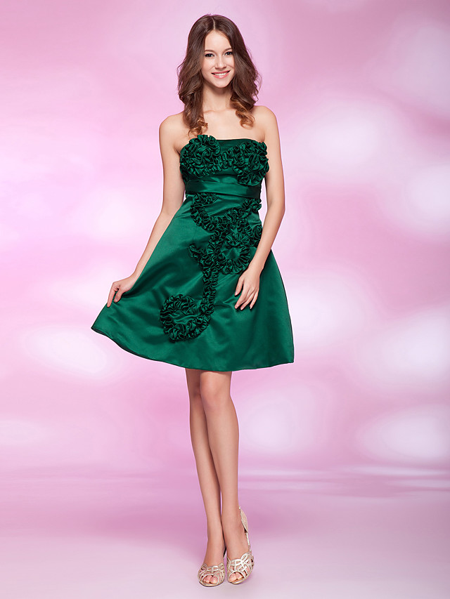Back To School Ball Gown Homecoming Cocktail Party Dress Strapless Sleeveless Knee Length Satin with Sash / Ribbon Ruffles 2020 Hoco Dress
