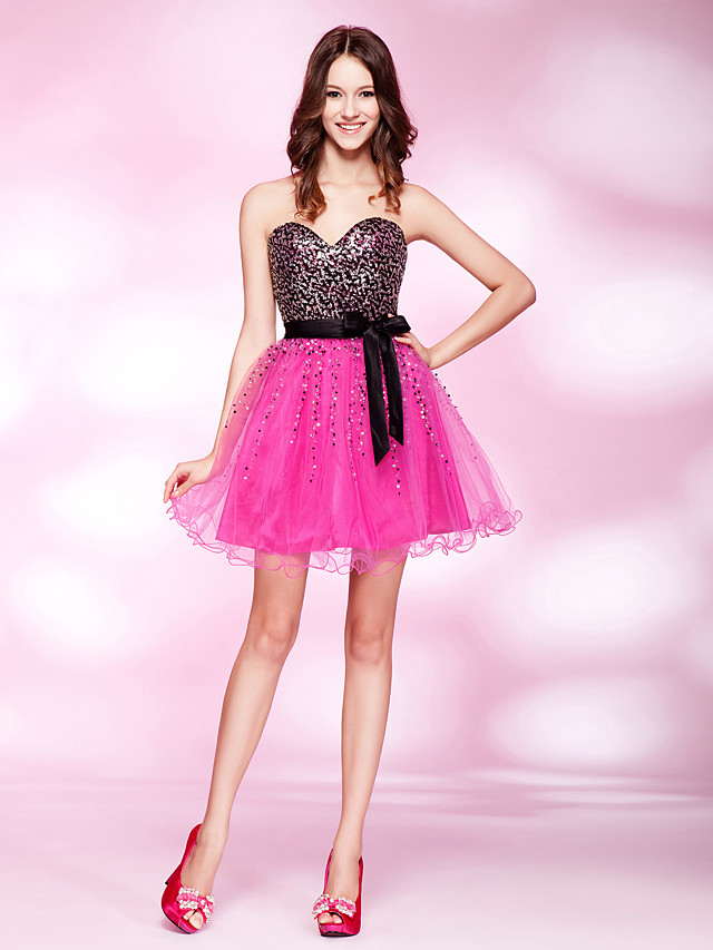 Ball Gown Open Back Cute Beaded & Sequin Homecoming Cocktail Party Dress Strapless Sleeveless Short / Mini Tulle Stretch Satin Sequined with Sash / Ribbon Beading 2020