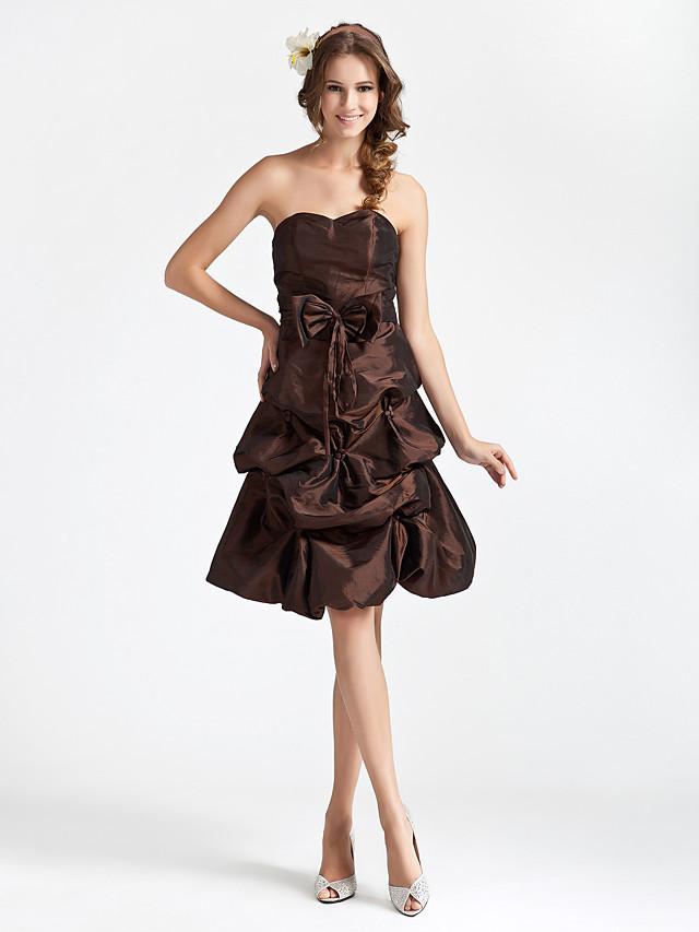 Princess / A-Line Strapless / Sweetheart Neckline Knee Length Taffeta Bridesmaid Dress with Pick Up Skirt / Bow(s)