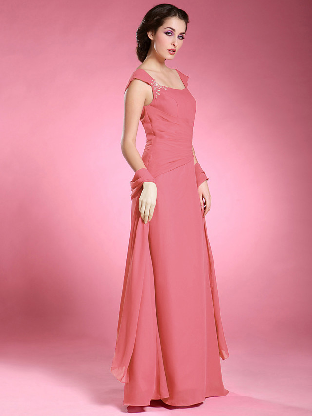 A-Line Mother of the Bride Dress Wrap Included Off Shoulder Floor Length Chiffon Short Sleeve with Beading 2020