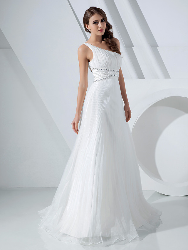 A-Line Elegant Prom Formal Evening Dress One Shoulder Sleeveless Floor Length Organza with Pleats Crystals 2020