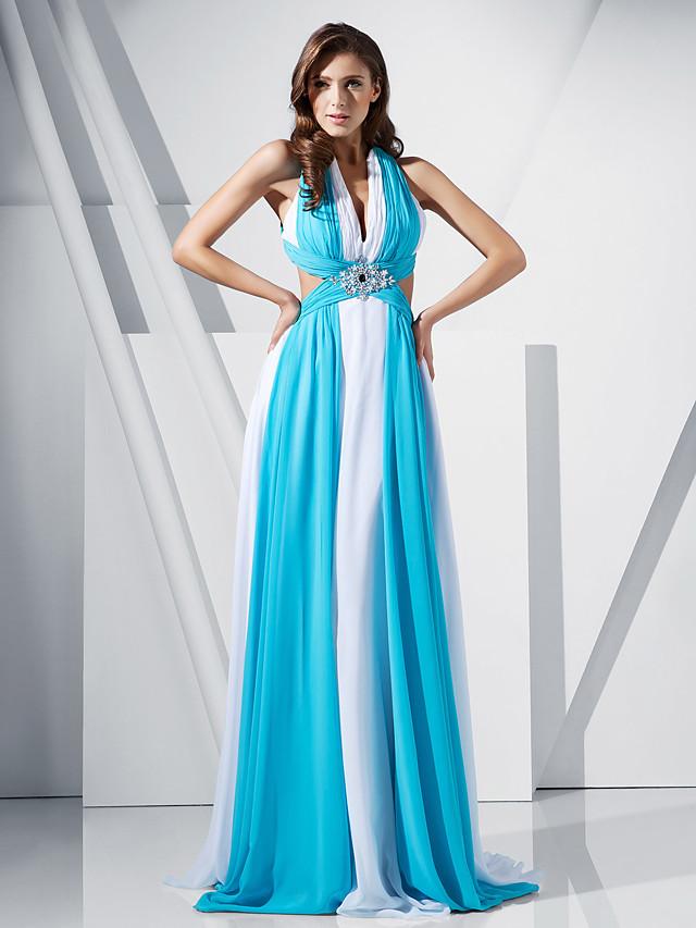 Sheath / Column Celebrity Style Open Back Formal Evening Military Ball Dress V Neck Sleeveless Sweep / Brush Train Chiffon with Crystals 2020