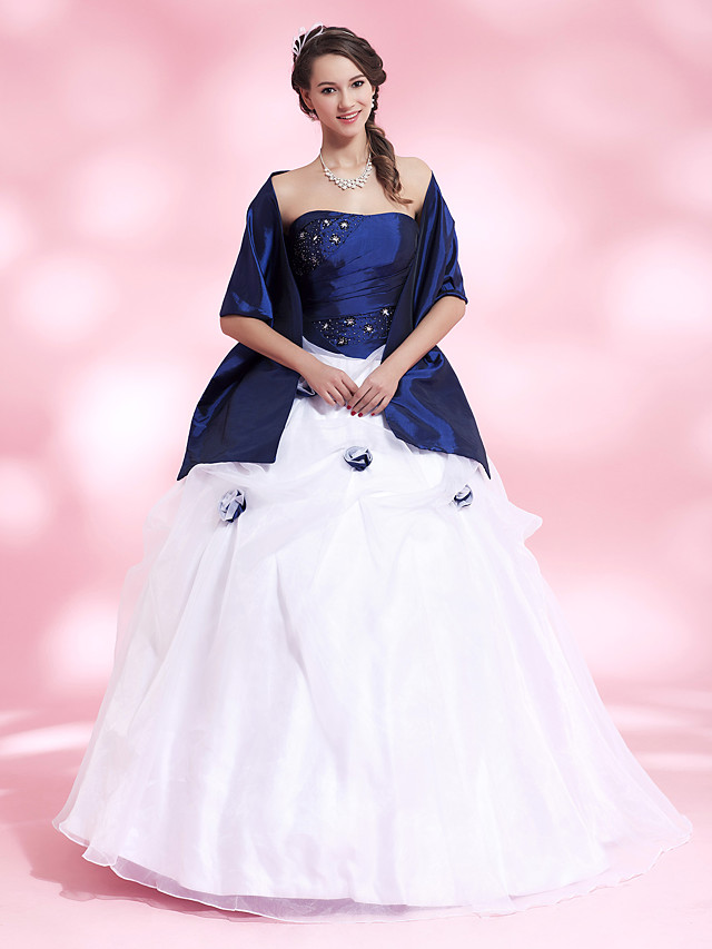 Ball Gown Quinceanera Prom Formal Evening Dress Strapless Sleeveless Floor Length Organza Taffeta with Pick Up Skirt Crystals Beading 2020