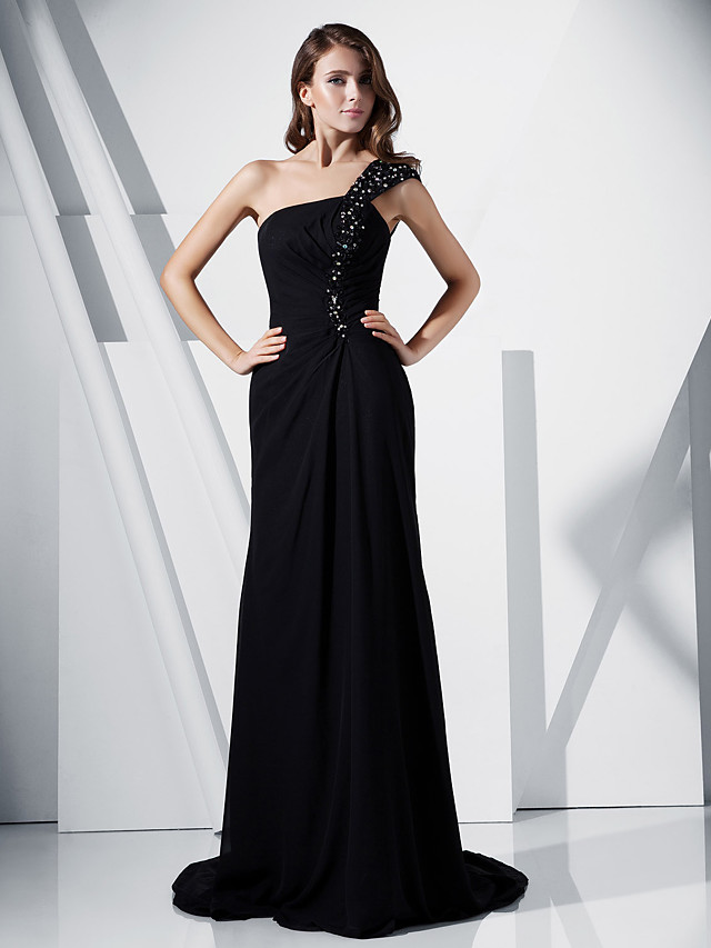 Sheath / Column Formal Evening Dress One Shoulder Sleeveless Sweep / Brush Train Chiffon Stretch Satin with Beading Side Draping 2020