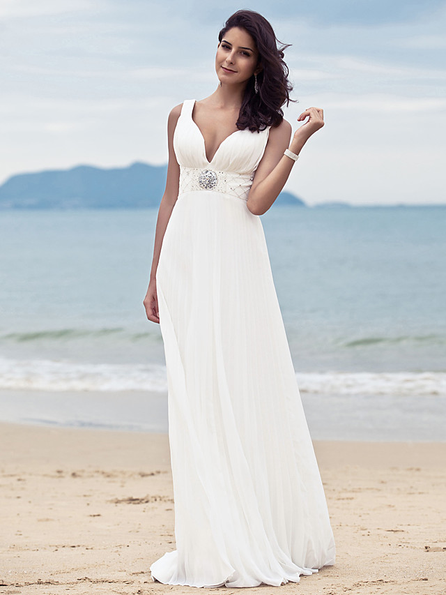 Sheath / Column Wedding Dresses Straps V Neck Sweep / Brush Train Floor Length Chiffon Sleeveless with 2020