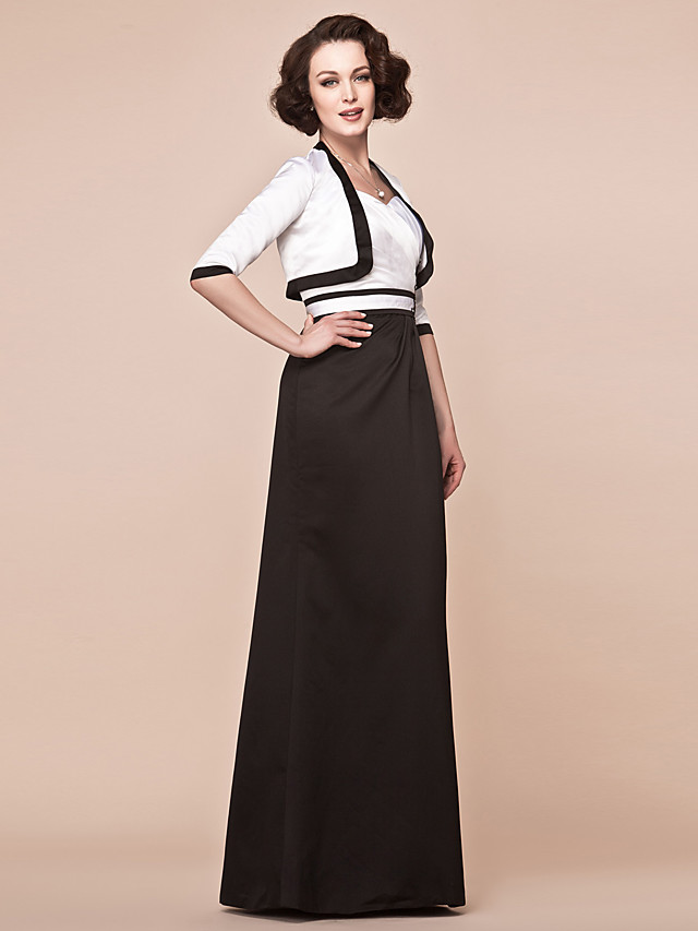 Sheath / Column Mother of the Bride Dress Wrap Included Straps Floor Length Satin Half Sleeve with Sash / Ribbon 2020