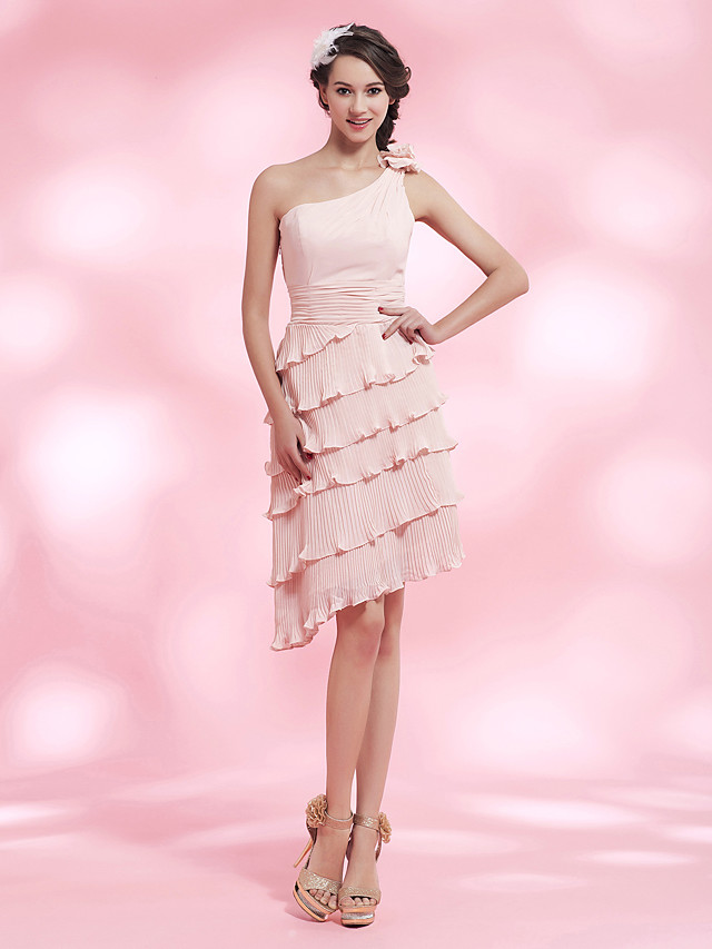 Back To School Sheath / Column Homecoming Cocktail Party Dress One Shoulder Sleeveless Asymmetrical Knee Length Chiffon with Pleats Ruched Draping 2020 Hoco Dress