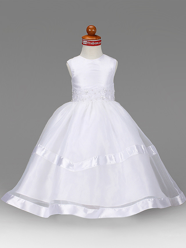 Princess / A-Line Floor Length First Communion / Wedding Party Organza / Taffeta Sleeveless Jewel Neck with Beading / Draping / Appliques