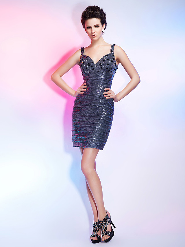 Sheath / Column Holiday Homecoming Cocktail Party Dress Straps V Neck Sleeveless Short / Mini Sequined with Ruched Crystals Sequin 2020