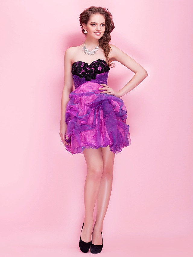 Ball Gown A-Line Homecoming Cocktail Party Prom Dress Strapless Sweetheart Neckline Sleeveless Short / Mini Organza with Lace Pick Up Skirt Ruched 2020
