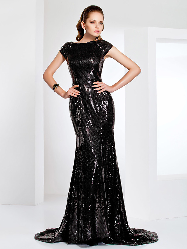 Mermaid / Trumpet Elegant Celebrity Style Inspired by Emmy Formal Evening Dress Boat Neck Short Sleeve Sweep / Brush Train Sequined with Sequin 2020 / Sparkle & Shine