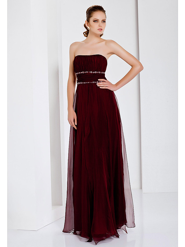 Sheath / Column Open Back Formal Evening Military Ball Dress Strapless Sleeveless Floor Length Chiffon with Ruched Beading Draping 2020